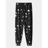 Mens Cartoon Galaxy Planet Print Pocket Drawstring Elastic Waist Home Jogger Pants