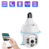 EXQ05-5MP IP Camera WiFi Wireless Auto Tracking Baby Monitor 5MP Night Vision PTZ Waterproof Speed Dome Surveillance PTZ Camera E27 Connector TF Card Storage