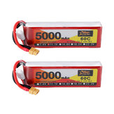 2 Pz ZOP Power 11.1 V 5000 mAh 60C 3S Lipo Batteria XT60 Spina Per Auto RC Quadcopter