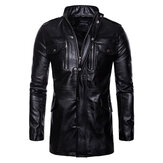 Mens Mid Long Black Stand Collar Pocket Biker Faux Leather Jacket