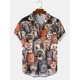 Mens Halloween Allover Funny Cat Print Casual Loose Fit Camisas de manga curta