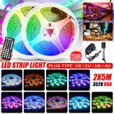 2x5M Music Sound ActivatedLED Strip Light Waterproof 3528 RGB Tape Under Cabinet Kitchen Lamp Set + 44Keys Remote Control