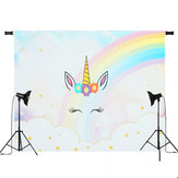 5x3ft 7x5ft Rainbow Clouds Sky Unicorn Photography Backdrop Studio Prop Background