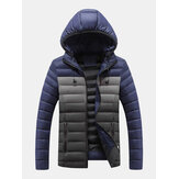 Mens Contrast Color Warm Padded Thick Casual Outdoor Zipper Puffer Jacket