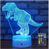USB / Bateria Powered 3D Children Kids Night Light Lamp Dinosaur Toys Boys 16 Colors Changing LED remoto Control + Base Christmas Decorations Clearance Christmas Lights