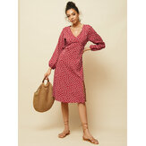 Chiffon Polka Dot Print Split Long Sleeve Causal Dress