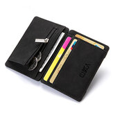 Mannen PU Leather Geld Clip Thin Bifold Portemonnee Credit Card Holder