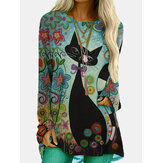 Cartoon Cat Print O-neck Long Sleeve Casual Blouse