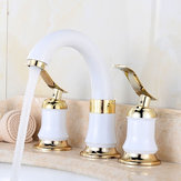 Basin Sink Faucet Hot and Cold Water Deck Mount Bathroom Mixer Taps W/2 Handles