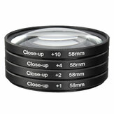 Universele 58mm macro close-upfiltersets +1 +2 +4 +10 voor 58mm cameralens