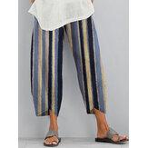 Kadınlar Casual Çizgili Elastik Bel Cep Düzensiz Hem Pantolon