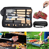 11PCS / Set BBQ Essential Grill Tools Set Barbecue Utensil Cutlery Outdoor Camping Wooden Handle Cooking Tool With 600D Storage Bag