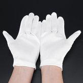 12Pairs Nylon Arbeitshandschuhe Weiße Etikette-Handschuhe Staubfreier Handschuhschutz