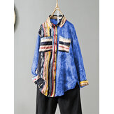 Women Vintage Multicolor Stripe Patchwork Tie Dye Printed Lapel Collar Long Sleeve Retro Shirts