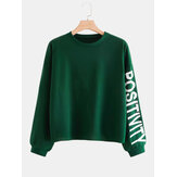 Plus Size Fashion Unisex Alphabet Print Long Sleeve Green Daily Casual Sweatshirt