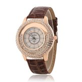 Mode Colorful Leather Band Crystal Women Quartz Watch