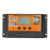 10-100A 12V/24V Dual USB LCD Solar Panel Battery Regulator Charge Controller