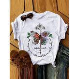 Femmes Design Papillon Graphiques Lettre Imprimer T-shirts manches courtes