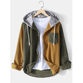 Mens Corduroy Contrast Patchwork Long Sleeve Drawstring Hooded Shirts With Pocket