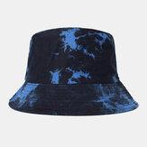 Men Double-sided Tie-dye Cotton Outdoor Sunscreen Sun Hat Bucket Hat
