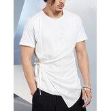 メンズソリッドバンデージクルーネック半袖Tシャツ