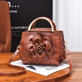 Faux Leather Flower Designer Handbag Shoulder Bag For Women