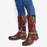 Botas de salto meia canela com costura floral SOCOFY feminino Padrão com fivela de renda deco e zíper