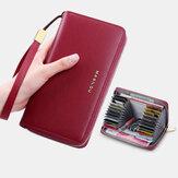 Femmes Longue Grande Capacité Portefeuille En Cuir Véritable Simple RFID Antivol Portefeuille D'embrayage 6,5 Pouces Multi-cartes Fentes Titulaire De La Carte Sac À Main