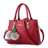 Women Elegant PU Cute Plush Ball Handbag Clutches Bag Crossbody Bag