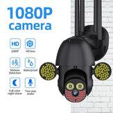 Guudgo 127 LED 1080P Câmera IP 2MP externa 5 Antena Câmera à prova d'água de segurança Wifi sem fio 360 ° Pan Tilt Zoom IR Vigilância CFTV de rádio bidirecional
