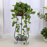 2 Tiers Metal Pot Flower Shelf Plant Stand Rack Display Indoor Outdoor