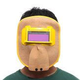 Capa de soldagem de couro Máscara Filtro de escurecimento automático solar tampa do capacete de corte