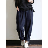 Women High Waist Striped Cotton Harem Pants