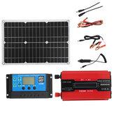 Kit de sistema de energia solar 18V Painel solar 4000W 12V a 110V Inversor 30A 12/24V Kit de controlador de carga USB