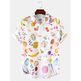 Heren Casual Colorful Fruitprint Reverskraag Leuke shirts met korte mouwen