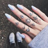 9 Pcs Bohemian Statement Conjunto de anéis Helm Folha Knuckle Rings