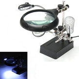 5 LED Light Magnifier Magnifying Glass Helping Hand Soldering Stand with 3 Lens