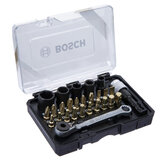 Bosch 27Pcs Screwdriver Bit And Multi-function Ratchet Wrench Mixed Set Cross Bits Hexagon Socket For Power Tool