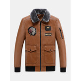 Mens Embroidered Faux Fur Collar PU Leather Bomber Jacket