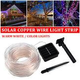7M 12M extérieur solaire alimenté LED chaîne de fil de cuivre lumière étanche lampe de tube de jardin de Noël
