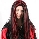 Partito di Halloween pieno Capelli Parrucche di Cosplay Anime lungo diritto Capelli Nero Con Rosso