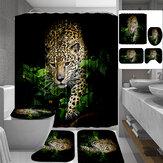 3D Leopard Padrão Cortina de Chuveiro Antiderrapante Tapete de Banho Conjunto de Toalete Sanita Padrão Tapete para Decoração de Casa de Banho