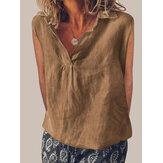 Blusa Casual com Decote em V Cor Sólida para Mulher