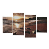 4Pcs Sunset Beach Canvas Painting Wall Decorative Landscape Print Art Pictures Frameless Wall Hanging Decorations for Home Office