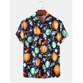 Mens Space Print Cartoon Muster Lustige Kurzarmhemden