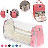 Mochila multifuncional para fraldas de múmia para bebê fralda cama dobrável e berço Bolsa Mochilas de carregamento USB para viagens de acampamento ao ar livre