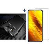 Bakeey для POCO X3 Аксессуары NFC Углеродное волокно Шаблон с Объектив Защитная пленка Чехол + Противовзрывная закаленная стеклянная защита экран