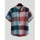 Mens Vintage Plaid Color Block Style Stand Col Demi Bouton Chemises Henley Casual