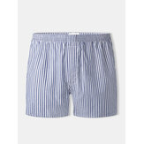 Mens 100% Cotton Striped Thin Loose Breathable Button Fly Home Boxers Shorts