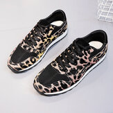 Kadın Ekleme Mesh Rahat Nefes Rahat Leopar Spor Ayakkabı